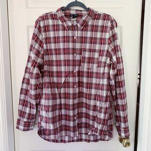 GAP Boyfriend Fit Button-Down Plaid Shirt